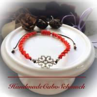 Makramee Armband rot mit silbernem Blumen Verbinder 17 - 25cm Bild 1
