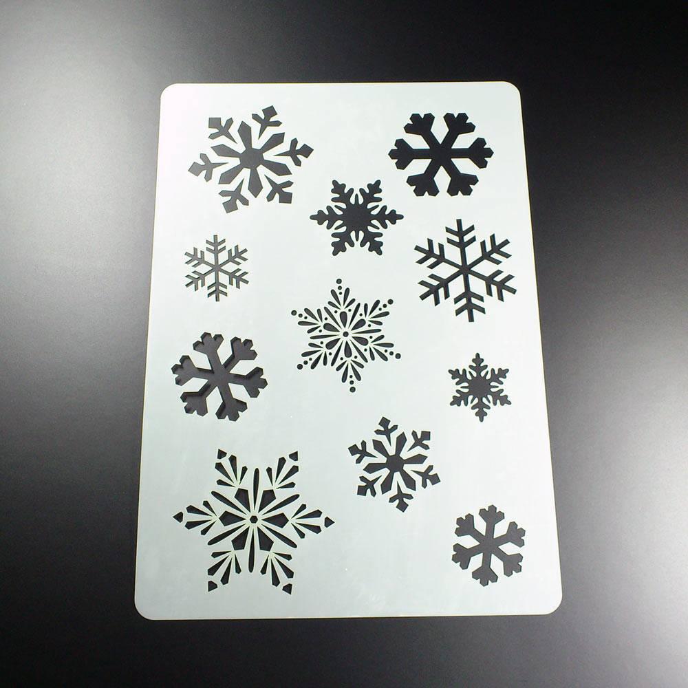 Schablone Schneeflocken Winter 11 Flocken Snowflake - BA07 Bild 1