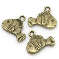 10 Anhänger, Fisch, bronze,17x14mm, Vintage-Stil, maritim, charm, charms,  02181 Bild 1