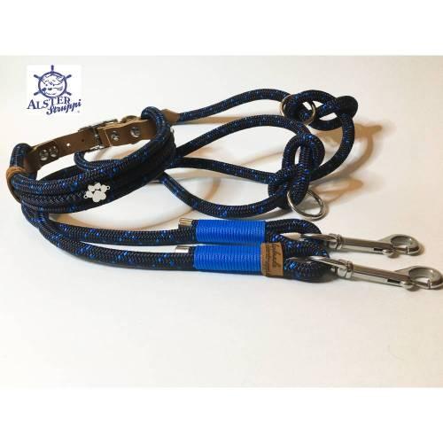 Leine Halsband Set marine mittelblau, für mittelgroße Hunde, verstellbar