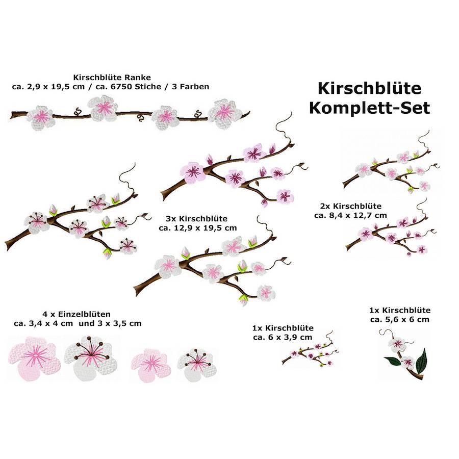 Stickdatei Kirschblüten 12 Dateien Frühling Rahmen mit mind. 20 cm Seitenlänge Bild 1