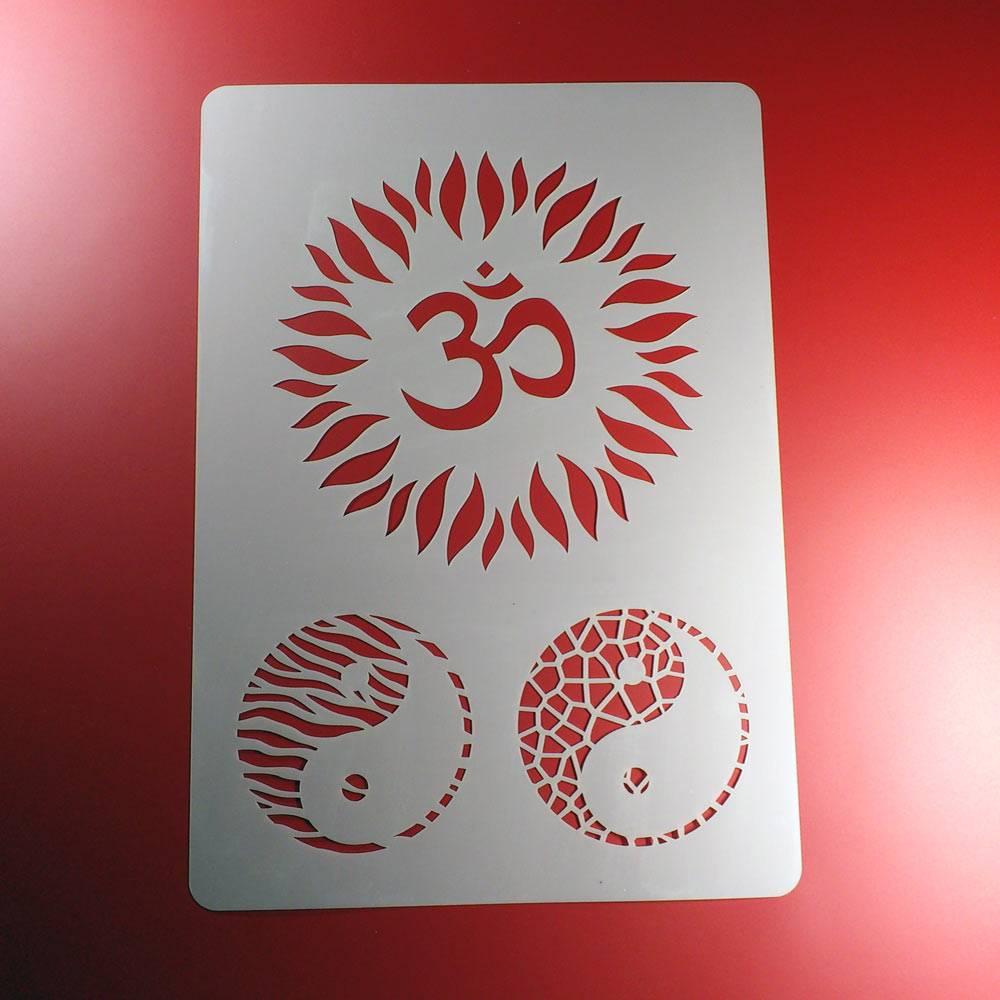 Schablone Om Aum Zeichen Blüte Yin Yang Symbol - BA28 Bild 1