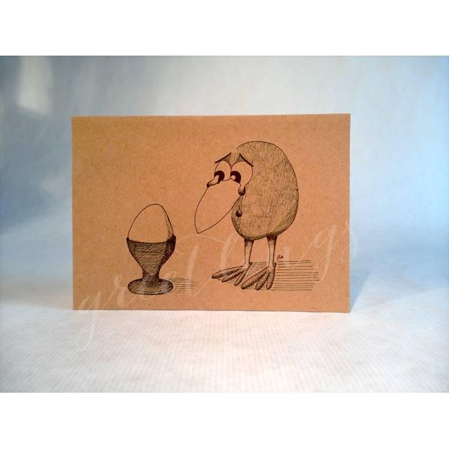 Postkarte A6, Trauriger Vogel Bild 1