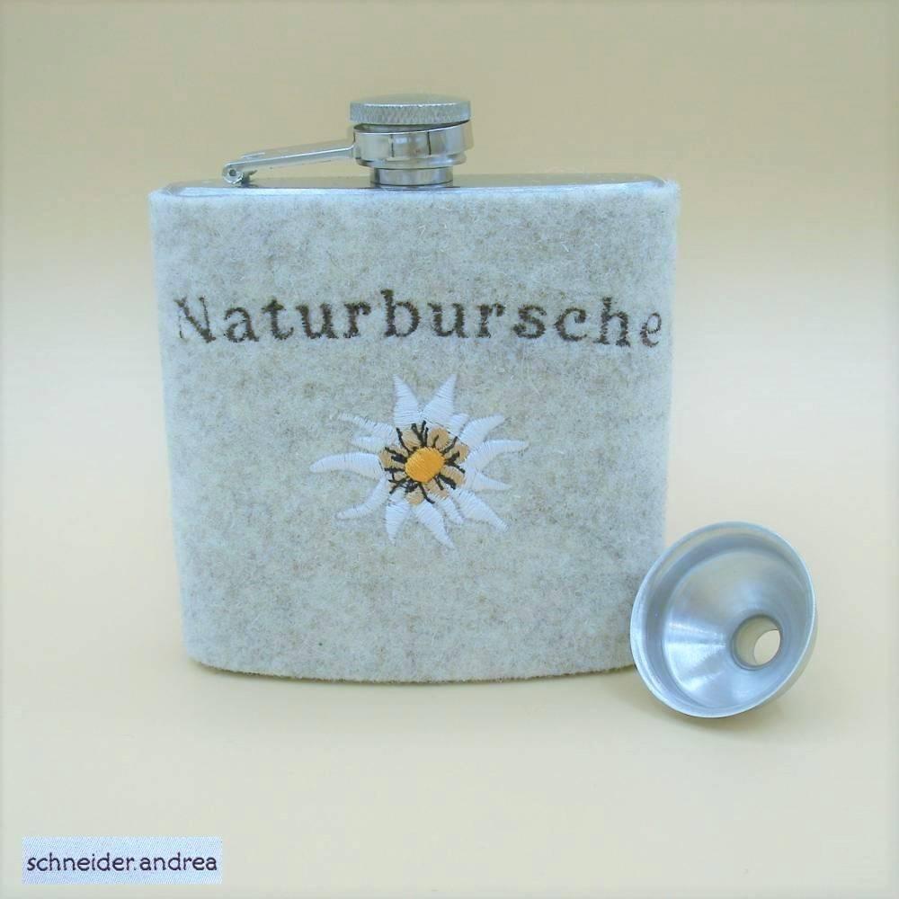 Flachmann mit bestickter Filzmanschette NATURBURSCHE Bild 1