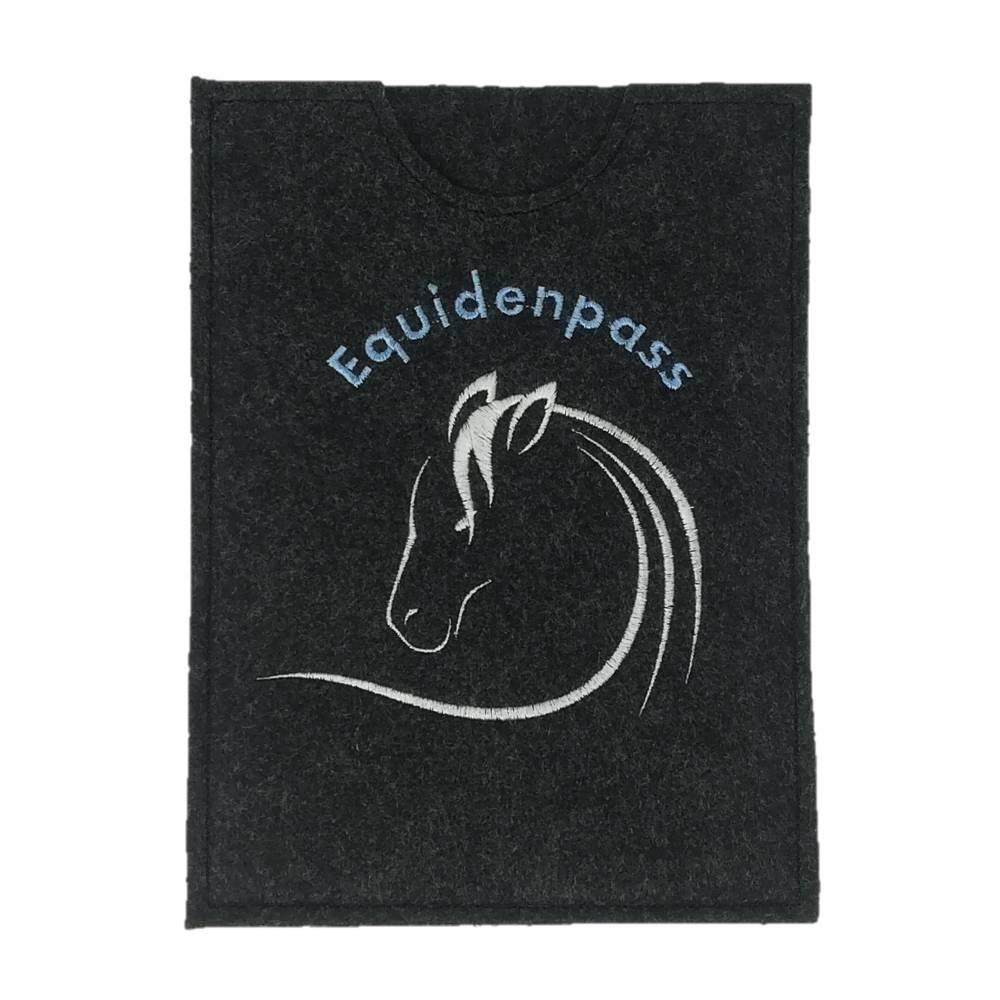 """Equidenpasshülle Pferde """"Schimmel"""" - Filz anthrazit hellblau Bild 1"""