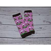 Baby-Stulpen rosa-braun Motiv-Fuchs-Schnee-Winter Bild 1
