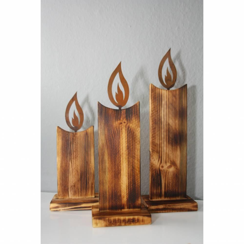 Deko Kerzen aus Holz 3er Set Weihnachtsdeko Bild 1