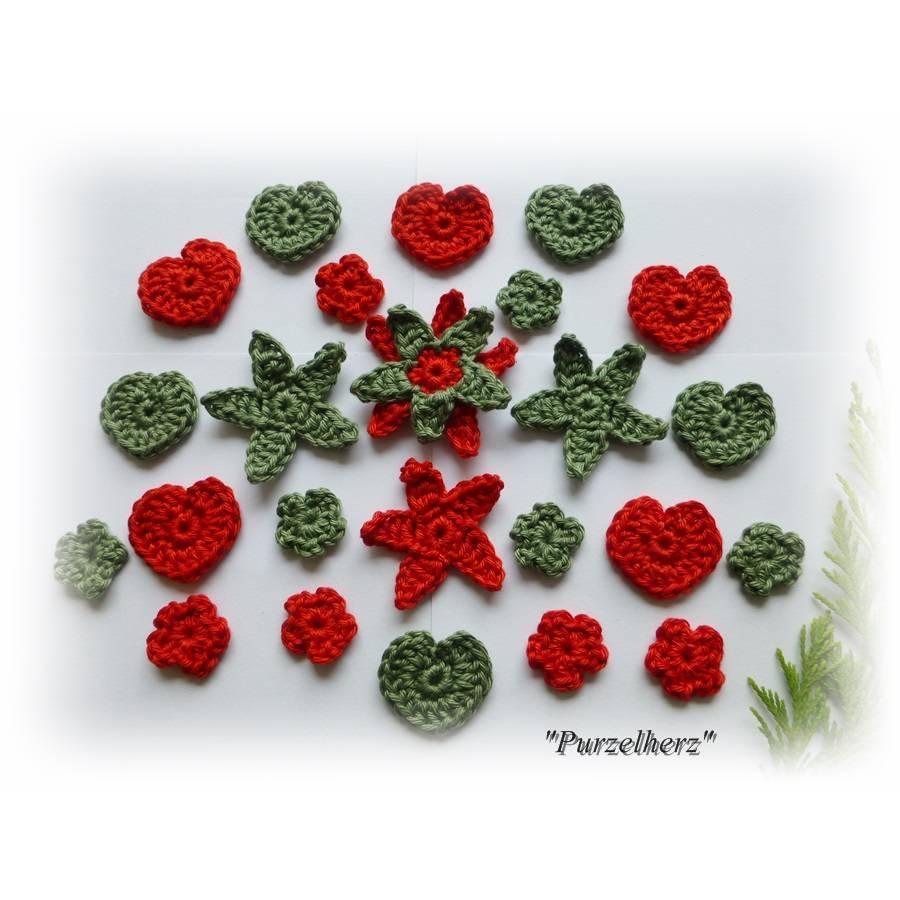 24- teiliges Häkelset - Streudeko - Tischdeko Weihnachten - Häkelherzen - Sterne - Streublümchen - Adventskalender - Häkelapplikationen  Bild 1