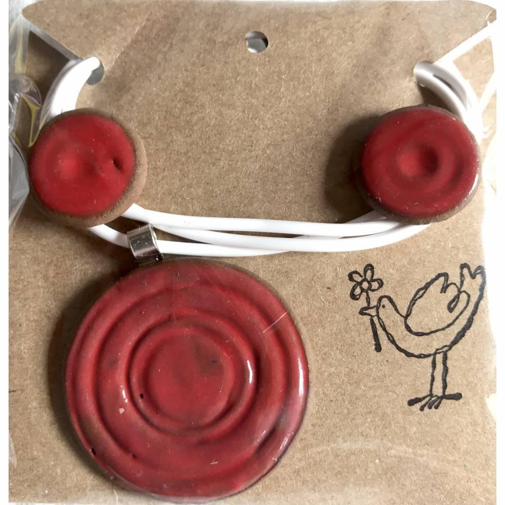 Schmuck-Set aus Keramik: Kette mit Anhänger plus Ohrstecker Bild 1
