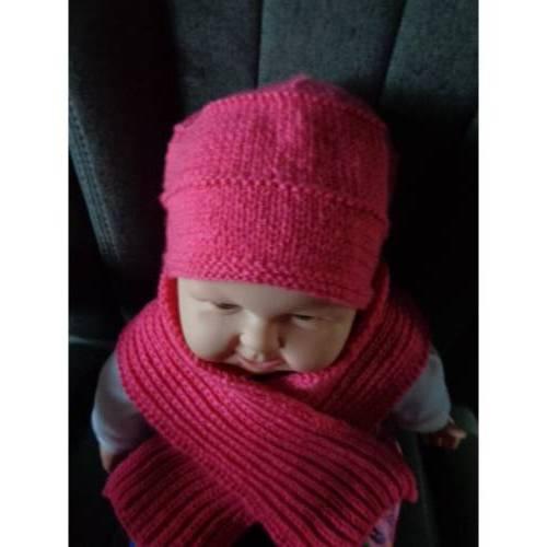 Set Beanie und Halswärmer, Mütze mit Umschlag, Farbverlauf blau/rot/weiß, KU: 50 - 52 cm
