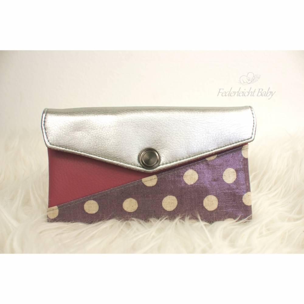 Smartphone-Tasche Mini-Geldbeutel  violett weiße Punkte, silber, altrosa, Glitzer Bild 1