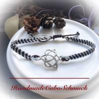 Makramee Armband Shambala Keltisches Symbol hellgrau braun silber Bild 1