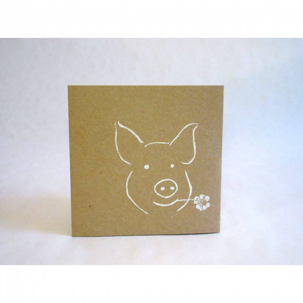 Taschenkarte / Gutscheinkarte Glücksschwein, Linolstempel Bild 1