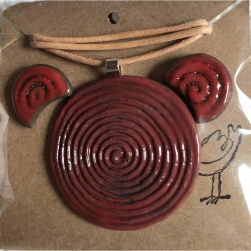Keramik-Schmuck-Set: Kette mit Anhänger und Ohrstecker