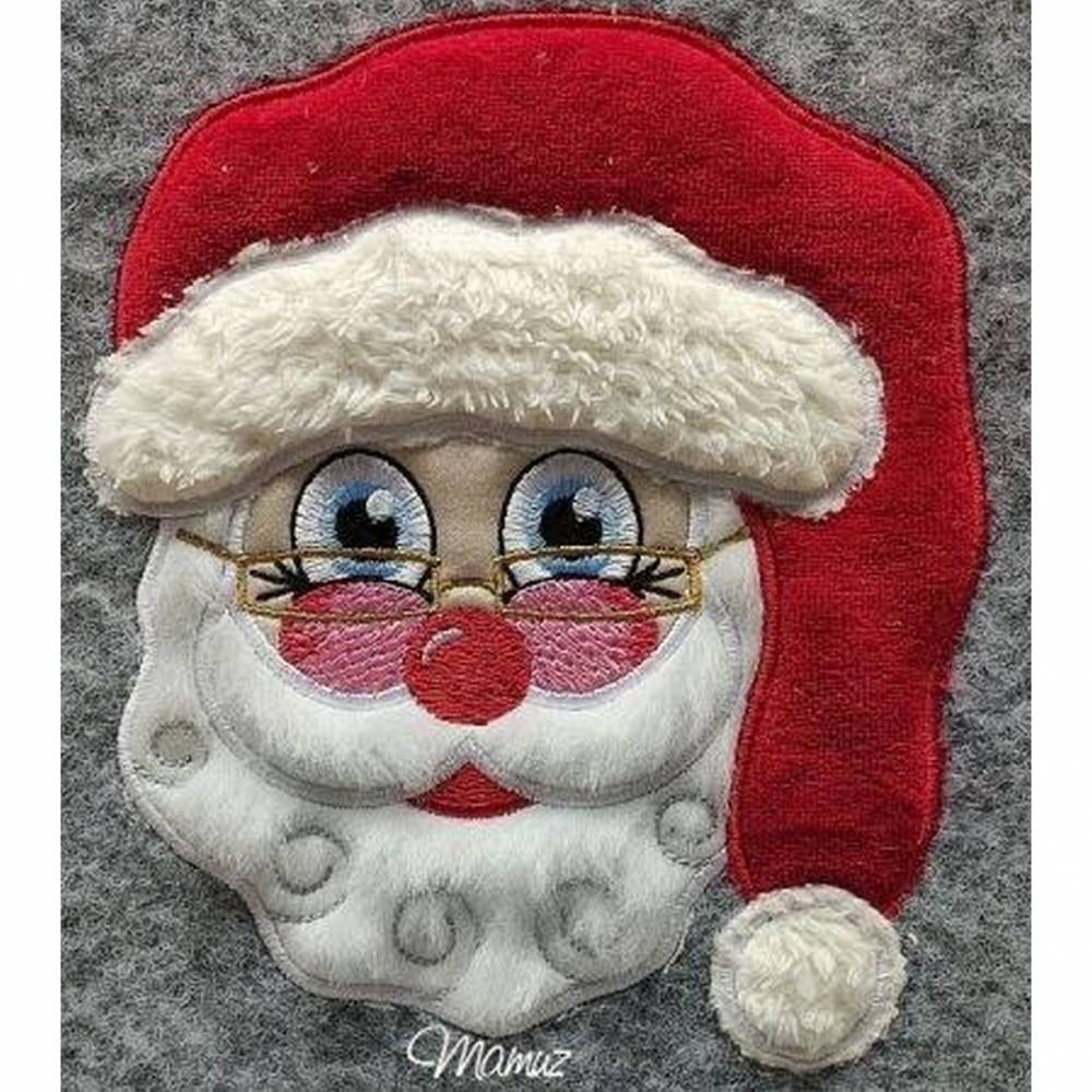 """""""  Weihnachtsmann / Santa Claus mit Brille """"  Applikation / Stickdatei - 186,1 x 159,8 mm  -  div. Formate  Bild 1"""