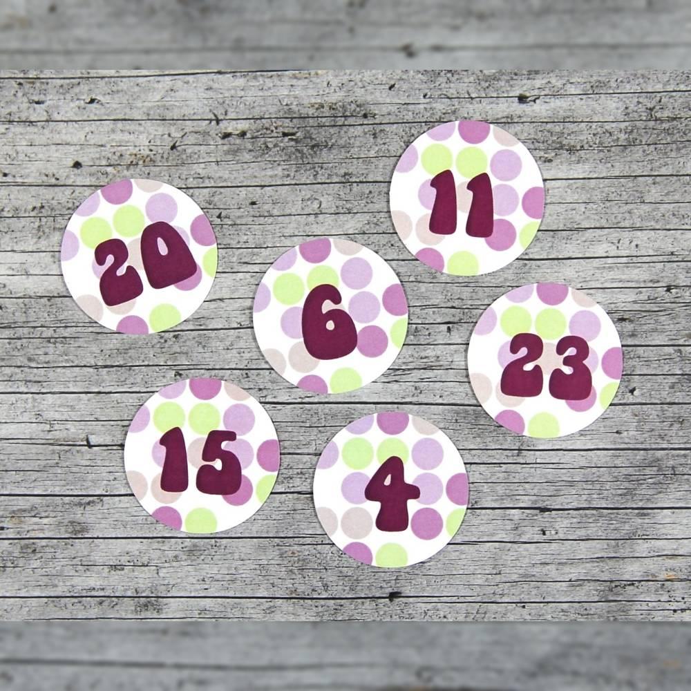 Adventskalenderzahlen **getÜpfelt** von ZWEIFARBIG 24 Stück 40mm Aufkleber Adventskalender Zahlenaufkleber Advent Etiketten Adventszahlen Weihnachten Bild 1