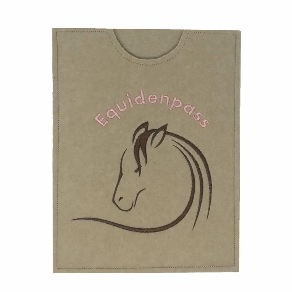 """Equidenpasshülle Pferde """"Brauner"""" - Filz beige rosa Bild 1"""
