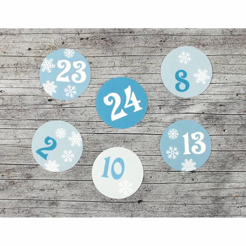 Adventskalenderzahlen **Schneeflocke** von ZWEIFARBIG 24 Stück 40mm Aufkleber Adventskalender Zahlenaufkleber Advent Etiketten Adventszahlen Weihnachten Bild 1
