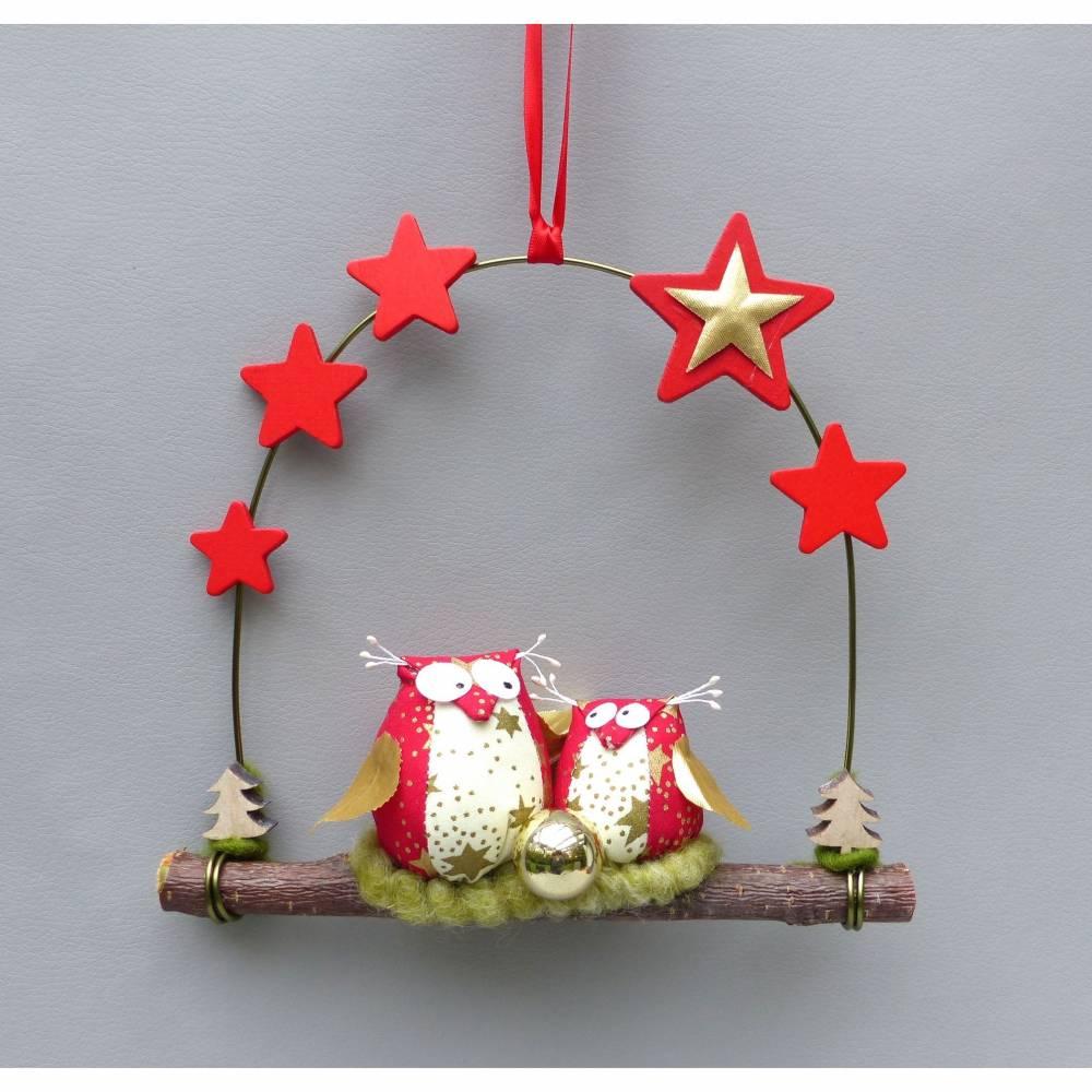 Türkranz* mit Eulen-Paar auf Ast, Weihnachts-Fensterdeko für den Advent Bild 1