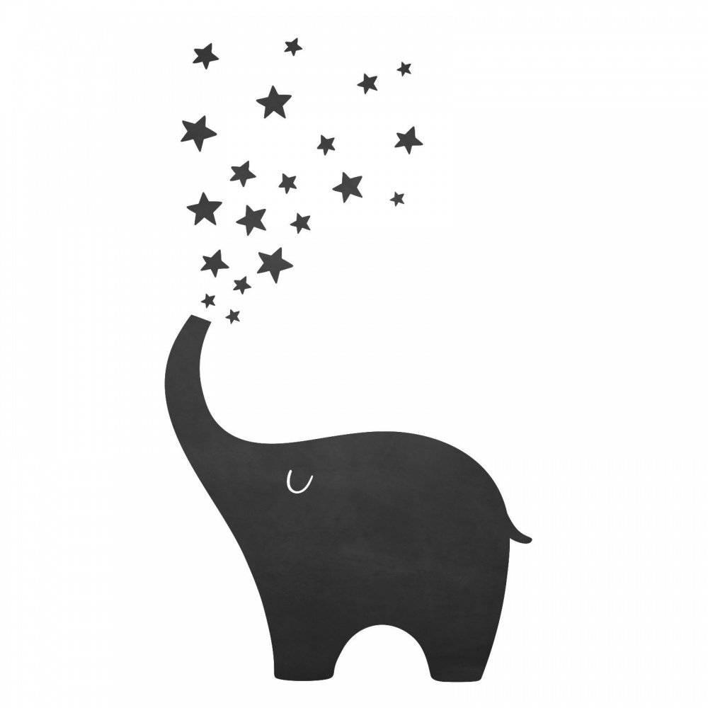 010 Elefant- selbstklebende Tafelfolie/Kreidefolie inkl. 3 Stück Kreide - Größe: 850 x 850 mm - Kinderzimmer Wanddeko Bild 1