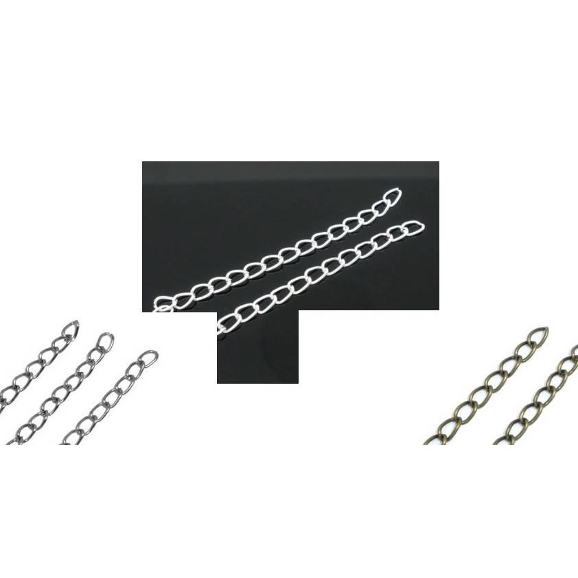 100 Verlängerungskettchen für Ketten oder Armbänder, silber, versilbert, bronze, 50 mm Bild 1