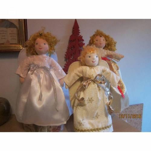 Weihnachts Baumspitz Engel- Agnetha Engel Weihnachts Dekoration, Waldorf Stil, echten Schafwoll Haare, 31cm Sammler Puppe, Kunstpuppe, Weihnachten.