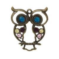 XXL-Anhänger, Eule, Strass, bronze, Vintage-Stil, charm, charms,  41739 Bild 1