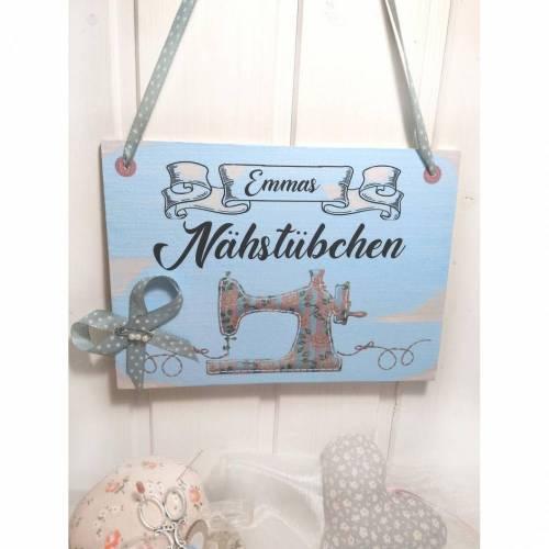 Nähstübchen, Name, Schild aus Holz im Shabby Style, ein Geschenk für jeden der gerne näht DinA5