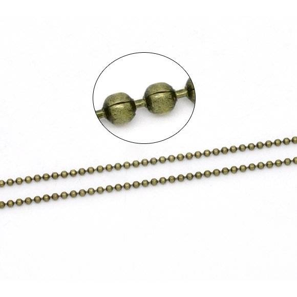 10 m Kugelkette, 1,50mm, bronze, Vintage-Stil, Kette, Schmuckkette, unisex, 14663 Bild 1