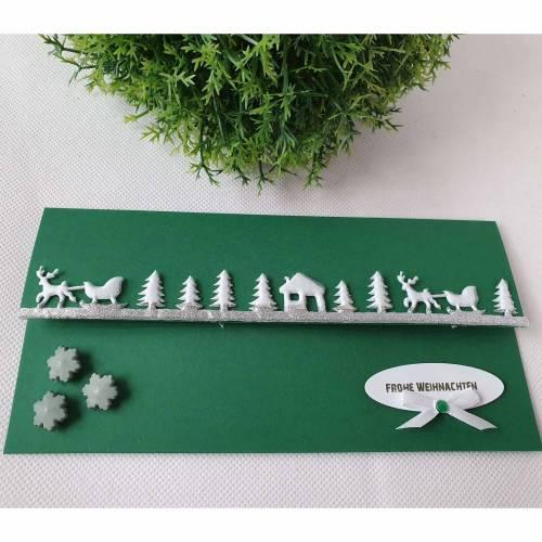 Gutschein- oder Geldgeschenkverpackung zu Weihnachten - Dunkelgrün-Weiß