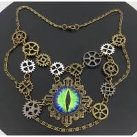 Steampunk Collier   Kette   Auge   Drachenauge   Drittes Auge   Zahnräder   Charms Bild 1