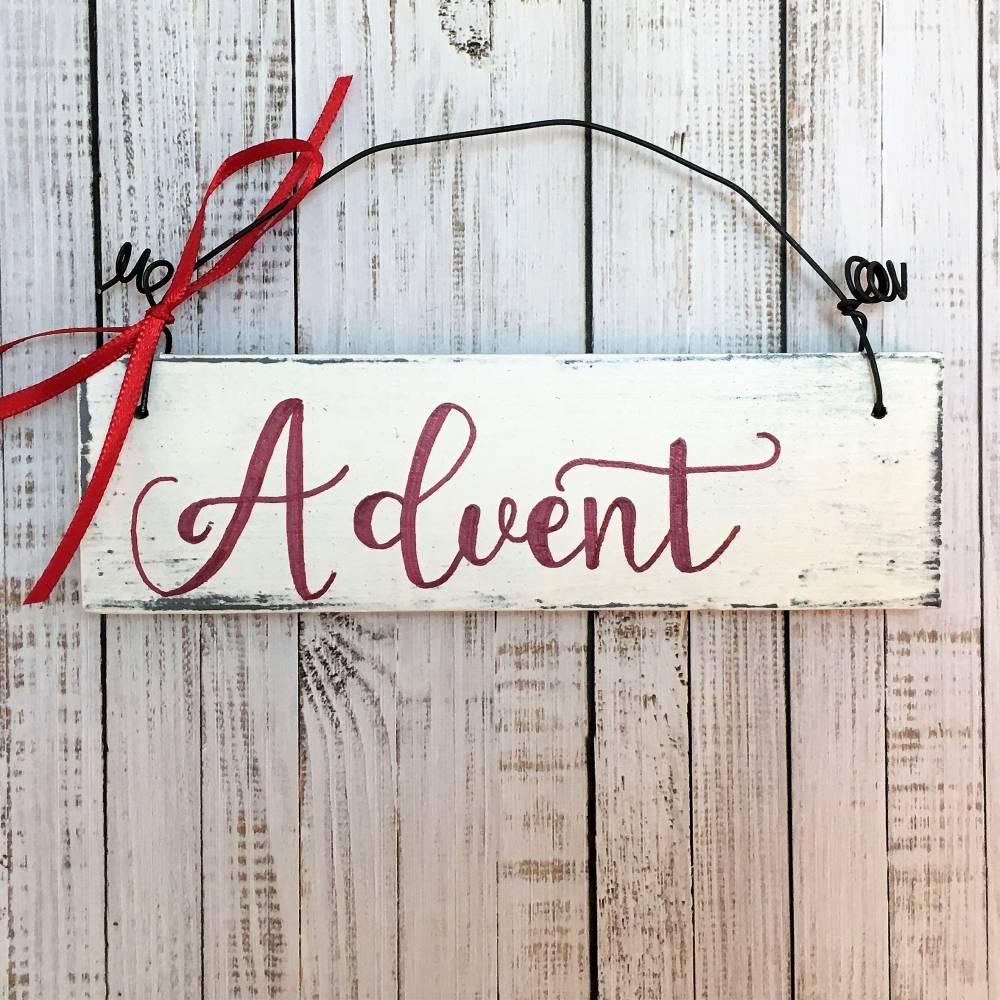 """Holzschild, handbemalt, """"Advent"""" Türschild, Weihnachten, Deko, Willkommen, Schild, Weihnachtsdeko, weiß, rot, Shabby, Haustür, Wohnzimmer Bild 1"""