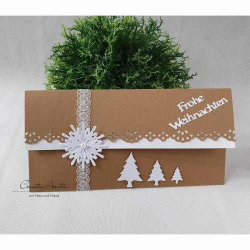 Gutschein- oder Geldgeschenkverpackung zu Weihnachten - Hellbraun-Weiß mit Christbäumen