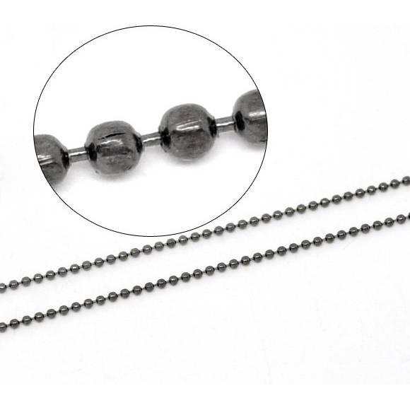 10 m Kugelkette, 1,50mm, geschwärzt, gunmetall, Kette, Halskette, Schmuckkette,  14664 Bild 1