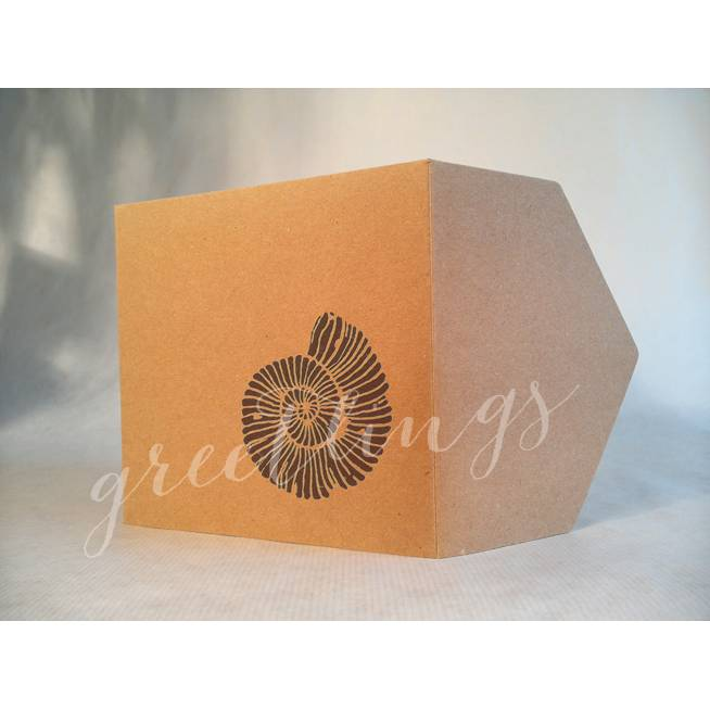 Taschenkarte / Gutscheinkarte Ammonit, Linolstempel Bild 1