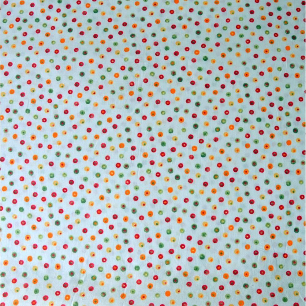 Baumwollstoff bunte Punkte auf weiß Bild 1