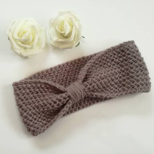 Stirnband, Ohrenwärmer aus Wolle (Merino) für Damen oder Mädchen, schlichtes Hellbraun, one size