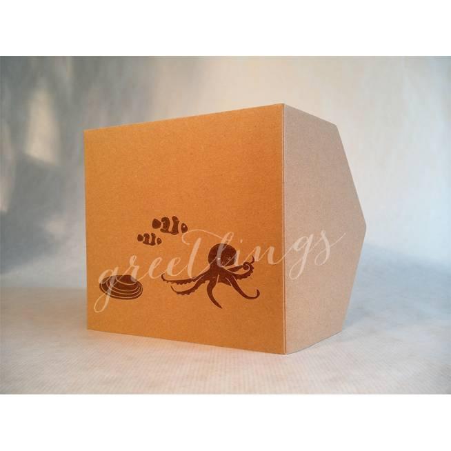 Taschenkarte / Gutscheinkarte Meerestiere Linolstempel Bild 1