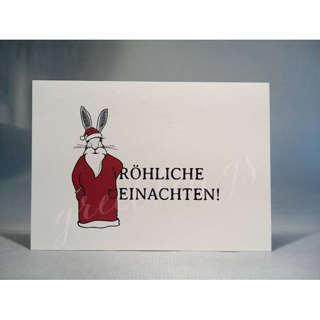 Postkarte A6, »Weihnachtshase« Bild 1