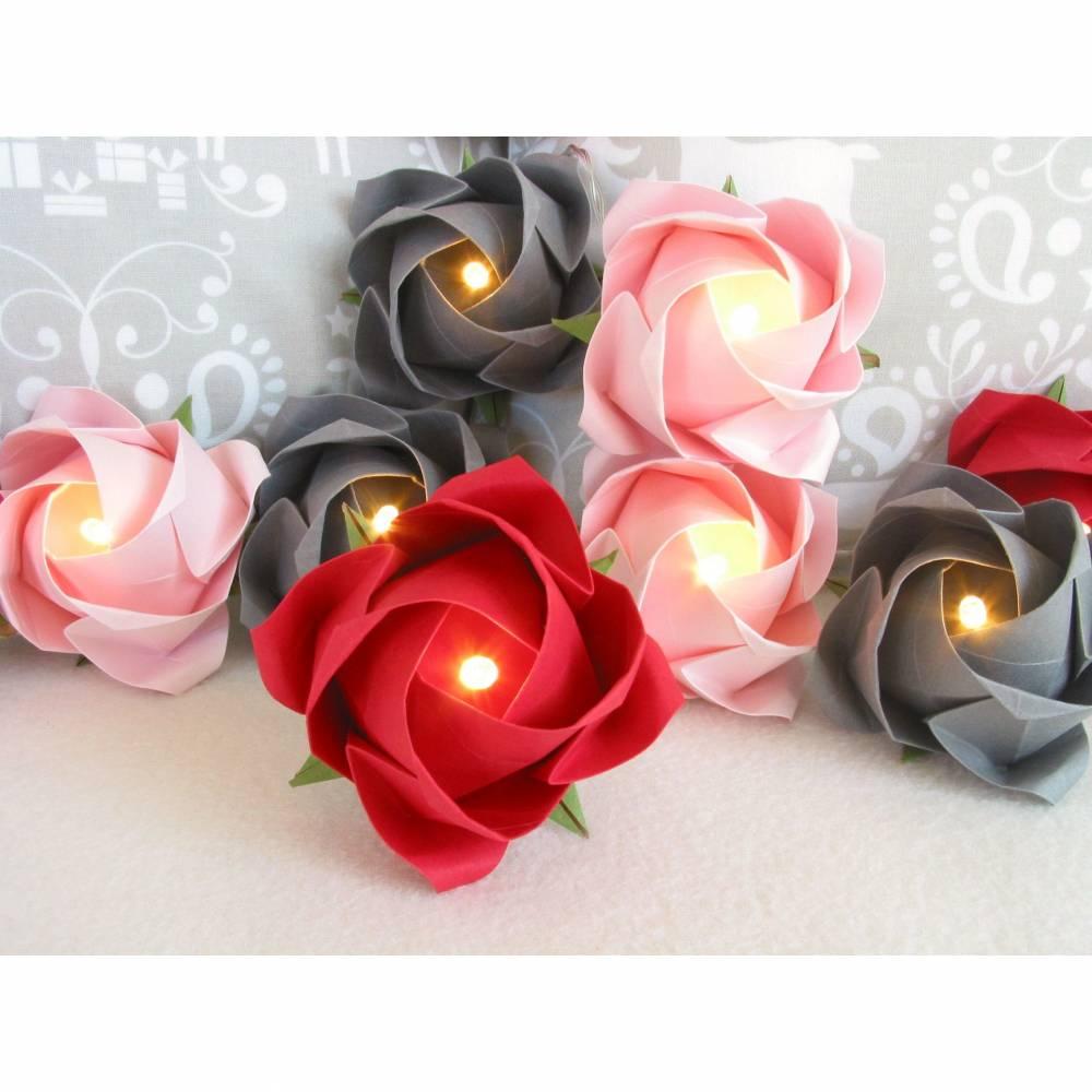 Lichterkette Rosen rot-grau-rosa, Tischdeko Hochzeit, Geschenk zu Weihnachten Bild 1