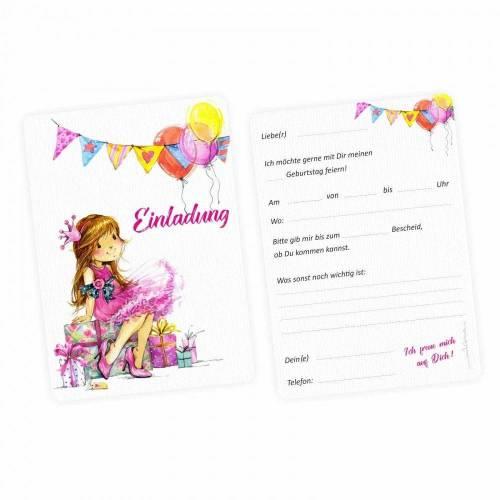 5 Einladungskarten Mädchen Geschenk Luftballons pink inkl. 5 transparenten Briefumschlägen - Kindergeburtstag Teenager pink rosa gelb