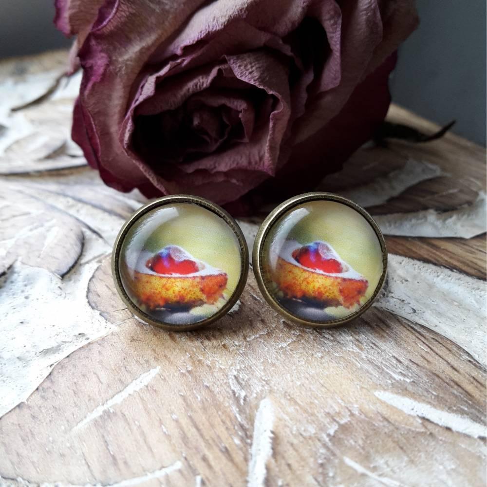 Ohrringe Cabochonschmuck verschiedene Fassungen Kastanie Herbst Bild 1