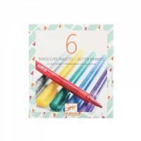 6 Glitzer Marker| gold silber grün blau lila rot | Gelstift Fasermaler Pen Metallic Glitter Bild 1