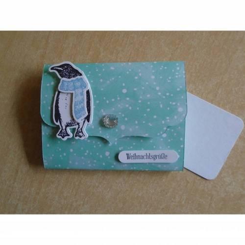 Geldgeschenk Weihnachten, Geldbörse.Geldkarte,GlückwunschKarte,Weihnachtskarte,Pinguin, Verpackung,Weihnachtsgeschenk, Geldgeschenk,Frau,Kind,Börse,Geschenk.Geld,Mann