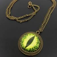 Kette Drachenauge | Glas Cabochon | bronze Farben | Auge | grün gelb Bild 1