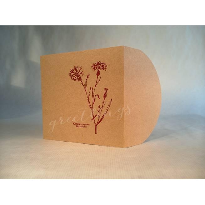 Taschenkarte / Gutscheinkarte Kornblume Linolstempel Bild 1