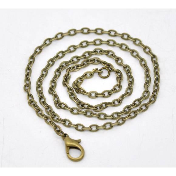 1 Kette, Gliederkette, 46cm, bronze, Metallkette, Halskette, Vintage-Stil, Karabinerverschluss, 13011 Bild 1