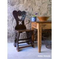 antiker bäuerlicher Stuhl, Bauernstuhl, Herzerlsessel  Bild 1