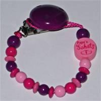 Schnuller-Kette mit Motiv Papa's Schatz - blau-lila pink rosa - mit Clips-Verschluss Bild 1