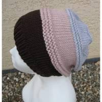 Beaniemütze - Damenbeanie - gestrickt - aus Wolle (Merinowolle) - Braun-Altrosa-Hellgrau - Doris_strickt  Bild 1